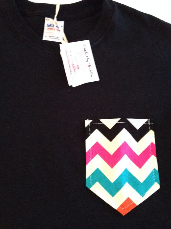 Multi-Color Chevron Pocket Shirt on Etsy, $12.00