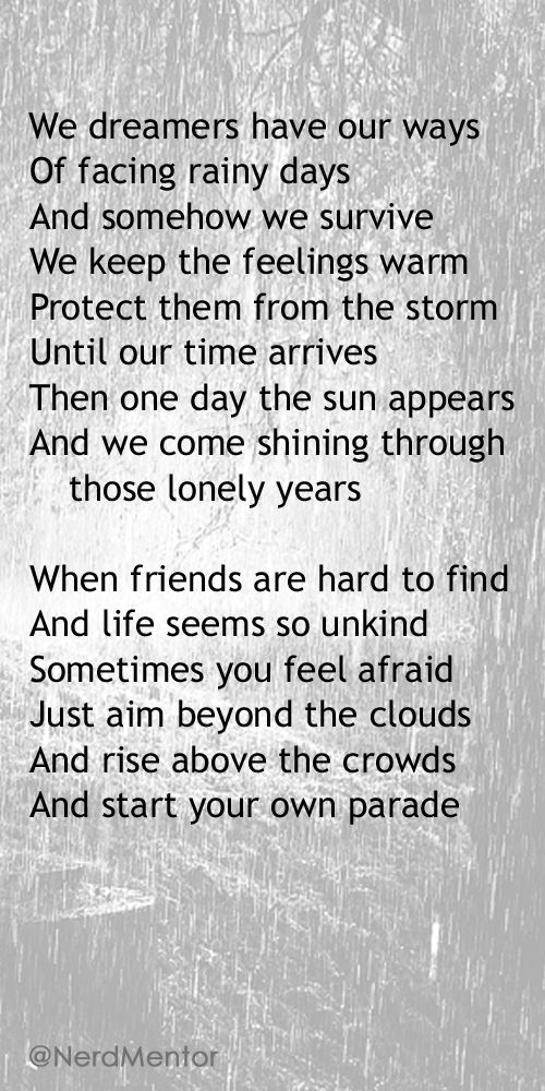 """""""I Made It Through The Rain"""" from Barry Manilow - Special thanks to BartoZ on Deviant Art (Quotes - Inspiration) #NerdMentor"""