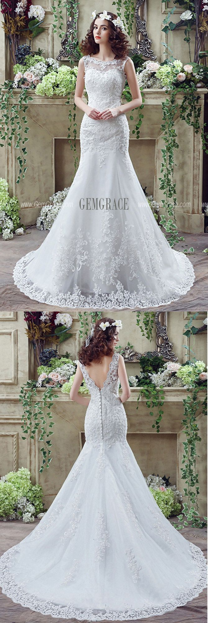 Fit And Flare Curvy Lace Wedding Dress Summer With Low Buttons Back #H76016 at G…