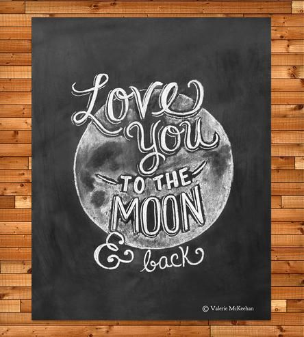 Love You To The Moon and Back Chalkboard Art Print | Lily & Val