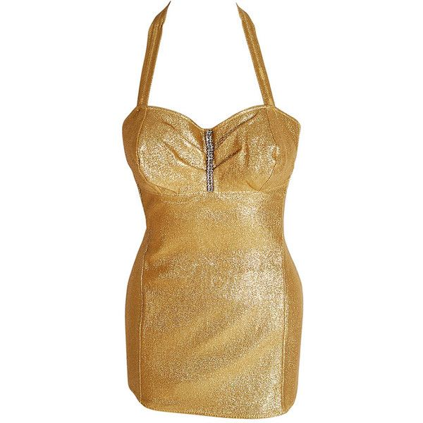Pre-owned 1950's Neiman Marcus Metallic-Gold Silk Lame Rhinestone... ($600) ❤ liked on Polyvore featuring swimwear, one-piece swimsuits, vintage bathing suits, pinup swimsuit, swim suits, pin up swimsuit and sexy swim suits