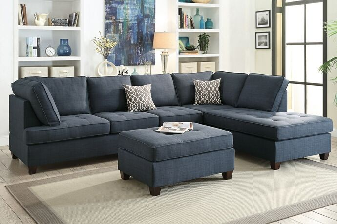 "2 pc Jackson collection dark blue dorris fabric upholstered sectional sofa with reversible chaise lounge.  This set is upholstered with a fabric upholstery, and has a reversible chaise, you need to assemble it on the side you want it.  Storage ottoman is available separately.  Sectional measures 118"" x 84"" L chaise x 36"" x 37"" H.  Optional storage ottoman available separately and measures 36"" x 26"" x 19"" H.  This set is KD , Ready to assemble. Requires assem..."