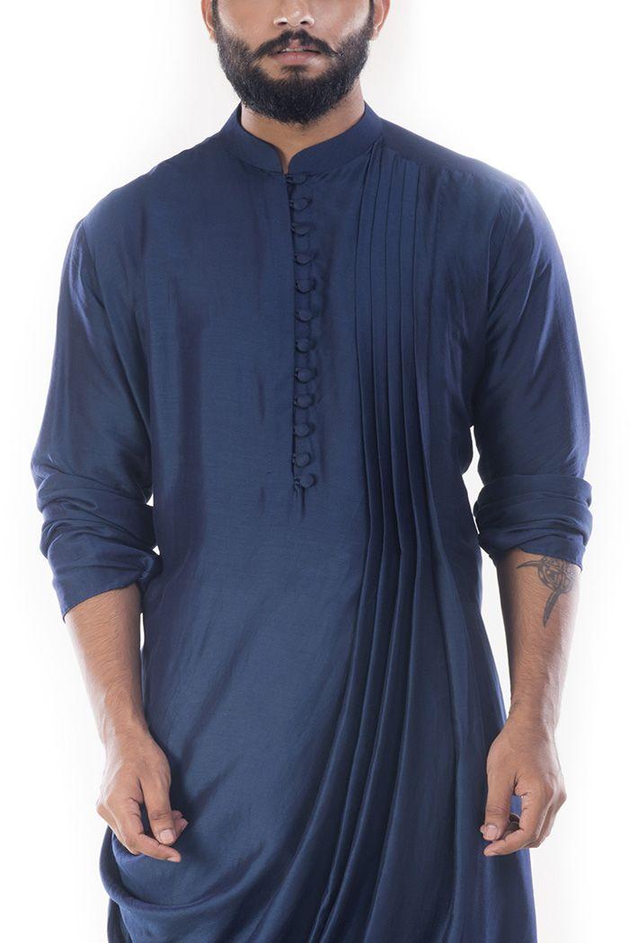 Online Fashion Store| Designer Clothing -Smritiapparels.com. Royal Blue Cowl Drapped Kurta With Churidar Pants-@Smritiapparels.com
