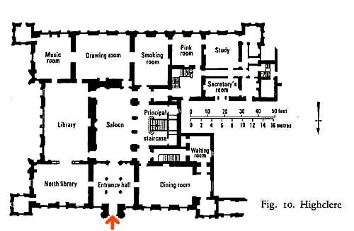 Downton Abbey House Tour begins here!  You can follow along on the floorplan of Highclere Castle