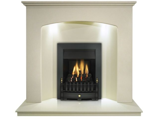 The Valetta Fireplace in Honey Creme with Valor Blenheim Slimline Gas Fire in Black, 48 Inch | Fireplace World