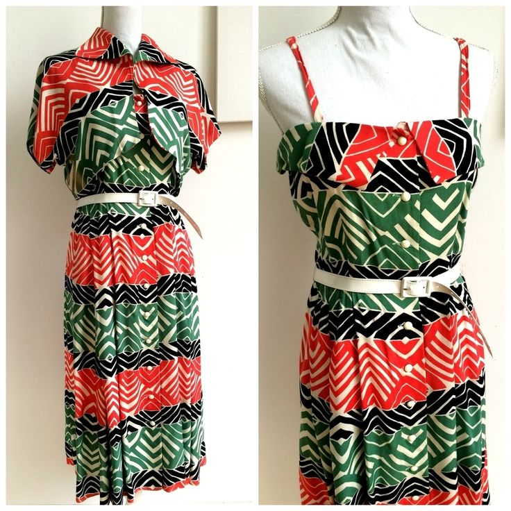 40s 50s - DEADSTOCK - Abstract Rayon Dress + Bolero - W29 (74cm), €190