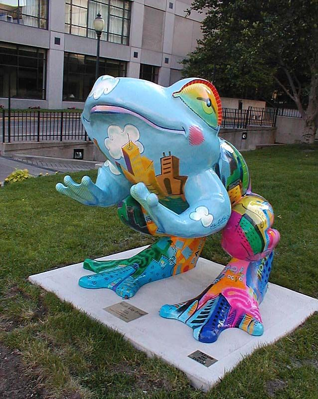 "Toledo, Ohio - Toledo Frogs 2001 - ""Sizzle City Frog"" - 110 fiberglass frog statues, 5 feet high"