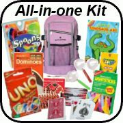 "Disposable Ponchos Day Packs  Plastic Magnifying Glasses Dominoes  UNO Cards Checkers Games Jumbo face cards Crayons Notebook Spoons game -Bad Weather Survival kit"" – All you have to do is select the item quantities to match your number of kids!"