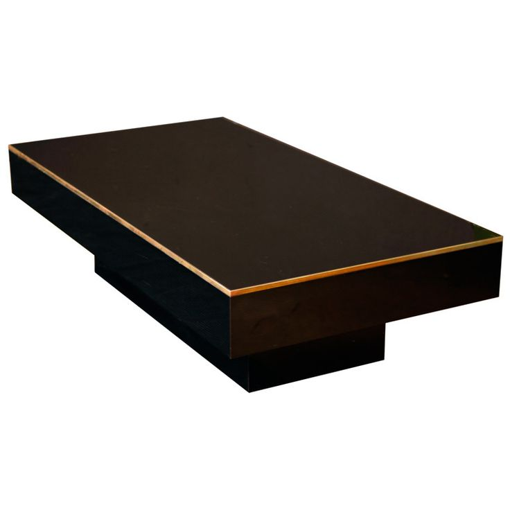 French Modernist Black Glass Coffee Table  France  circa 1970s