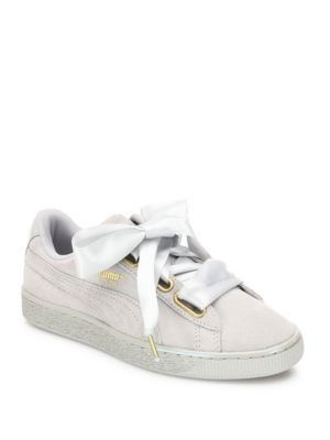 PUMA Basket Heart Suede & Satin Sneakers. #puma #shoes #sneakers