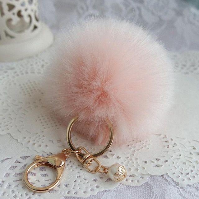 8cm Faux Rabbit Fur Ball Keychain Plush Car Key chain Handbag Key Ring Pendant Delicate 2017