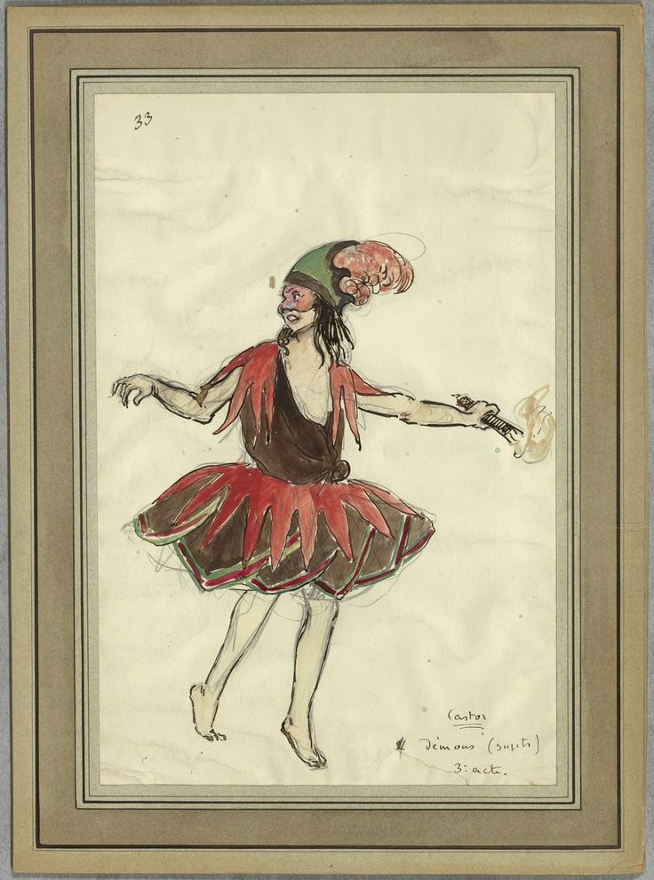 """Costume design (1918), by Jacques Drésa (1869-1929), for demons, in Act 3 of """"Castor et Pollux"""" (1737), by Jean-Philippe Rameau (1683-1764)."""