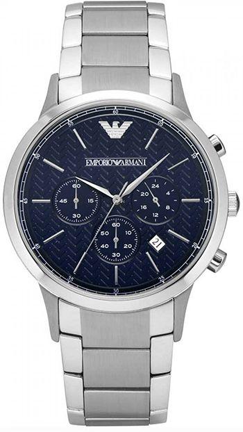 Montre Armani AR2486 Homme - Quartz - Chronographe - Bracelet et Cadran en Acier inoxydable Argent - Date - Etanche 5 bar