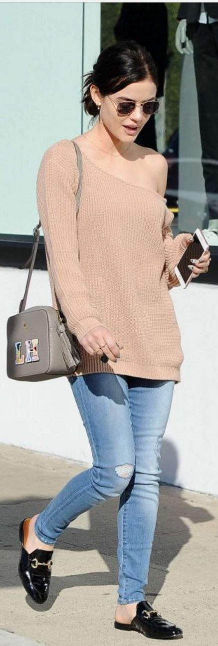 Who made Lucy Hale's blue skinny jeans, black mule shoes, tan handbag, and sunglasses?