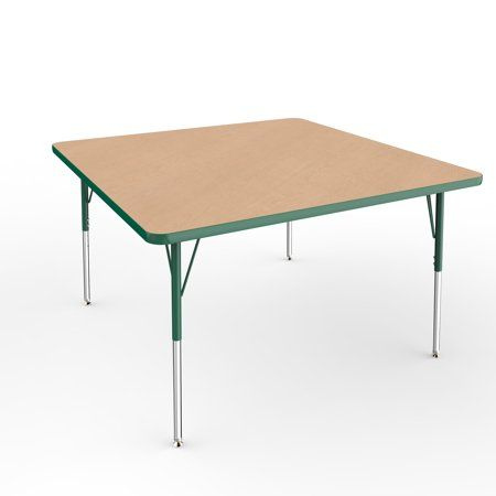 ECR4Kids 48in x 48in Square Premium Thermo-Fused Adjustable Activity Table Maple…
