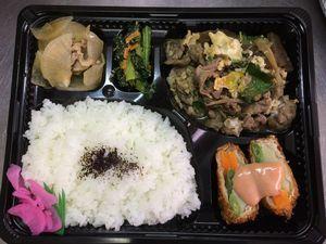 平成26年6月23日(月)ランチメニュー:牛肉柳川風/野菜のロールカツ/豚大根煮/青菜お浸し