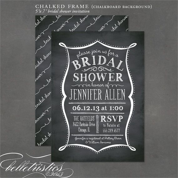 Printable Bridal Shower Invite - Chalkboard Invitation, Vintage Lettering, DIY print your own party invitation. $18,00, via Etsy.