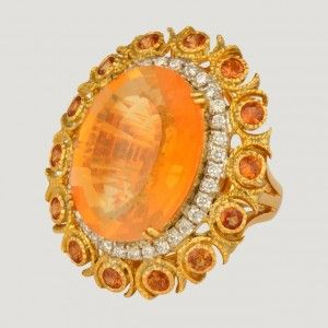 9K Gold Ring with Orange Sapphire