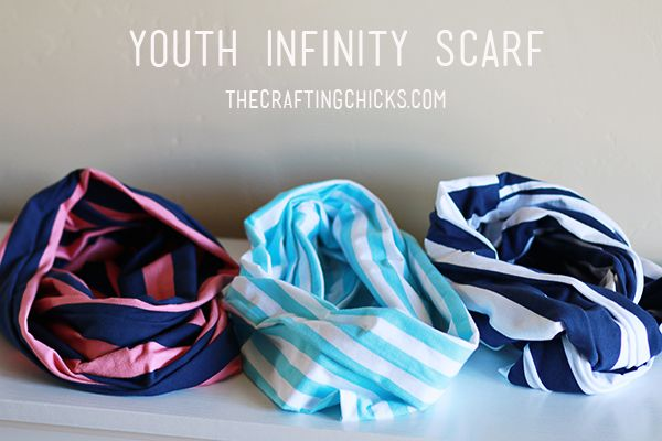 I'm so excited to be sharing inspiration for Youth Infinity Scarves today using Riley Blake's knit fabric!