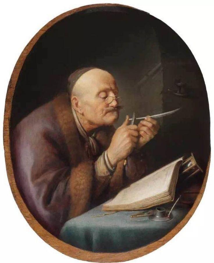 Λόγιος ακονίζει την πένα του (1630-35) Ιδιωτική συλλογή. Συλλογή Λέιντεν