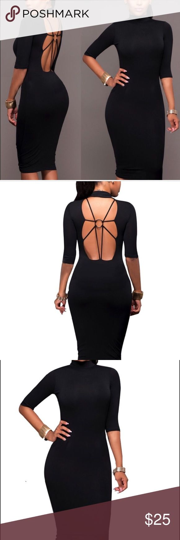 Form fitting knee length black dress. This dress is simply fabulous. Form fitting with a beautiful open back. Dresses