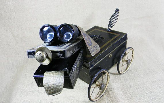 Robot Sculpture  RALPH the unconditional ROBOT DOG by reclaim2fame, $395.00