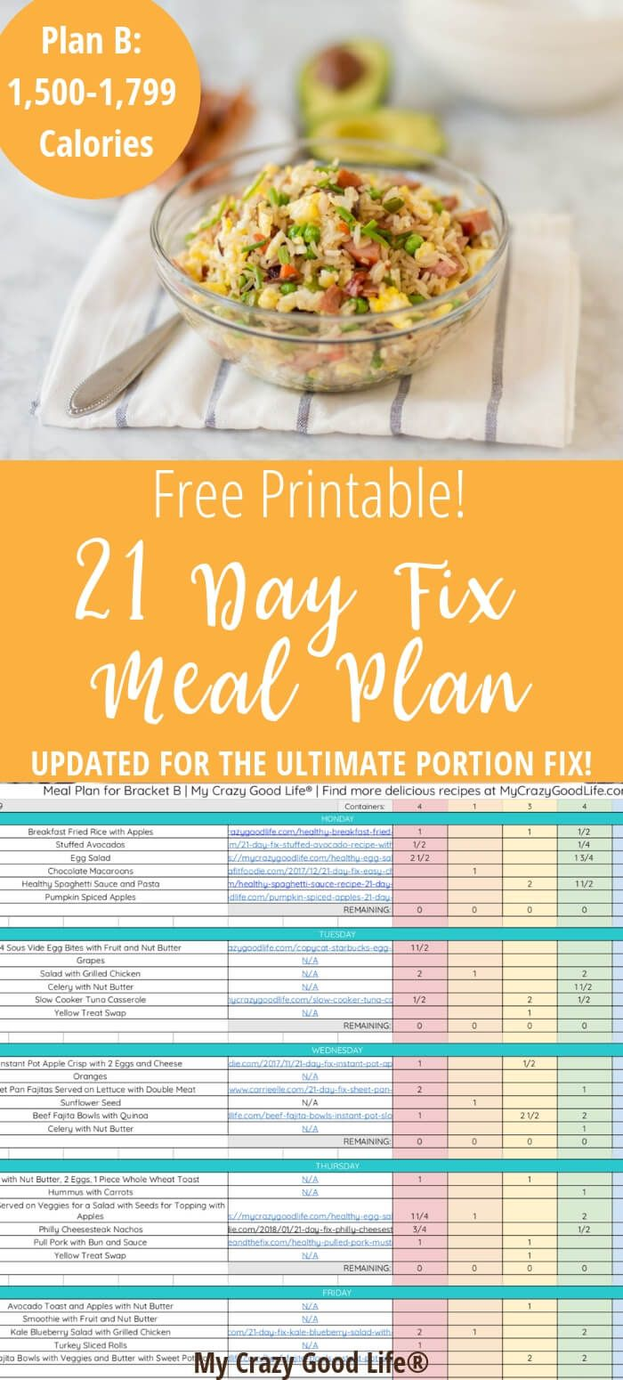 21 Day Fix Meal Plan, 500 Calorie