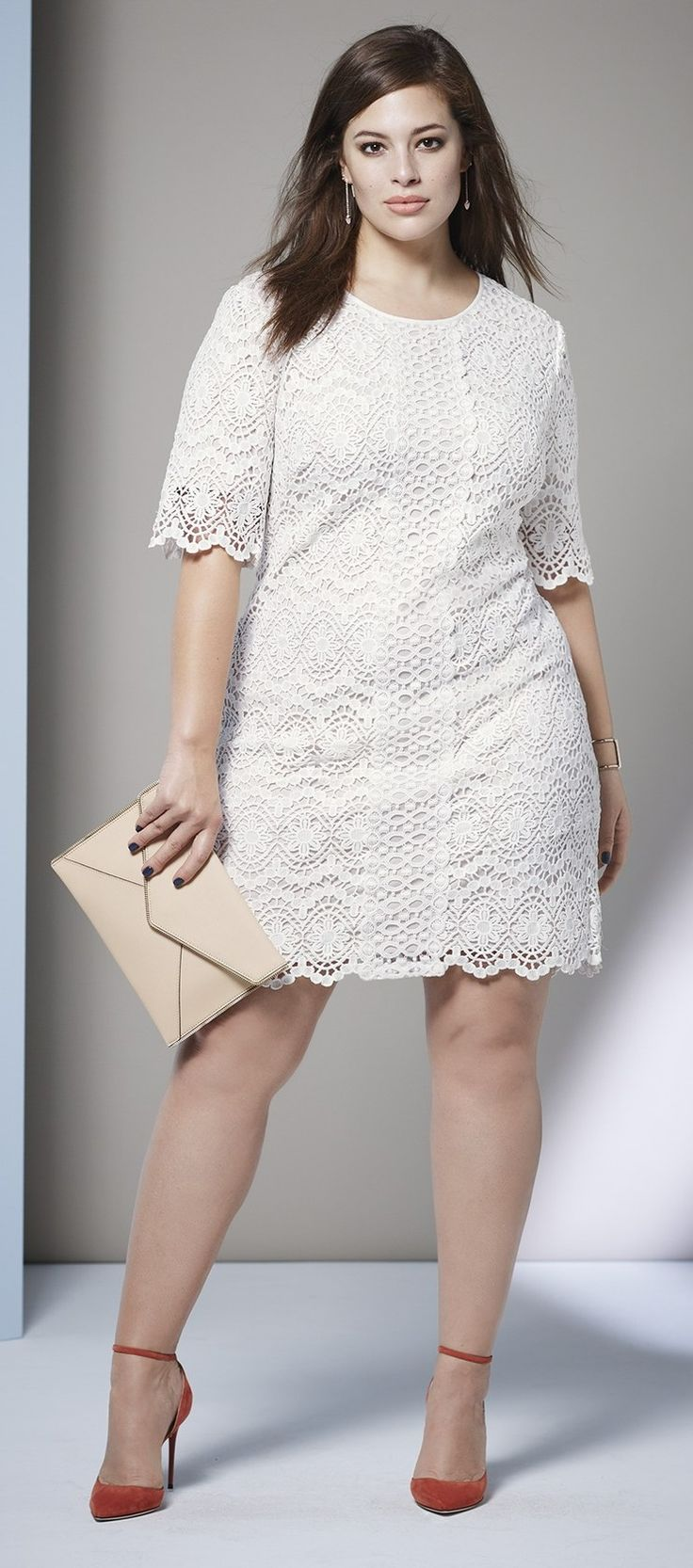 Plus size a line lace shift dress plus size fashion for Plus size shapewear for wedding dresses