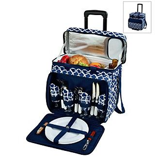 Picnic at Ascot Trellis Picnic Cooler for Four on Wheels