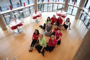 Sleeperz Cardiff staff form a human 5 to mark the hotel's fifth birthday