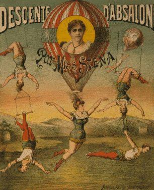 Poster publicitário de um circo - Descente d'Absalon par Miss Stena, cromolitografia, imp. Amsterdão, Faddegon & Co., 1880-1900 - col. Tissandrier, Library of Congress