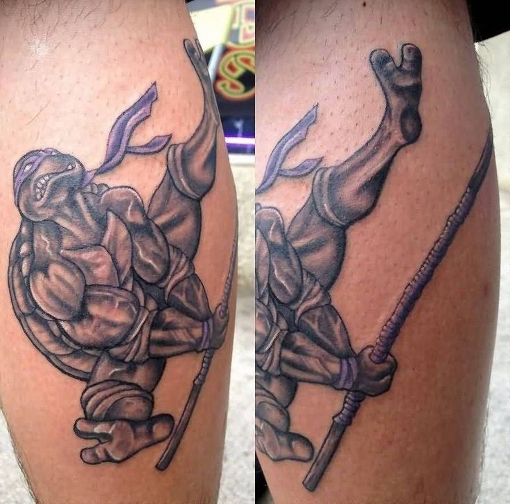 Black And Grey Animated Ninja Turtle Tattoo On Leg Calf