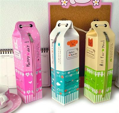Milk pencil cases!!!!!!!!!!!!!!!!! WHAT?????????????????????????????