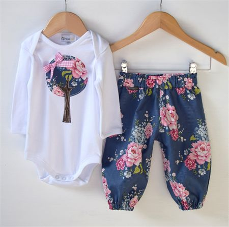 """""""Pretty Floral Tree"""" Modern Harem Pant + applique Long sleeve tee Sizes 2-4"""
