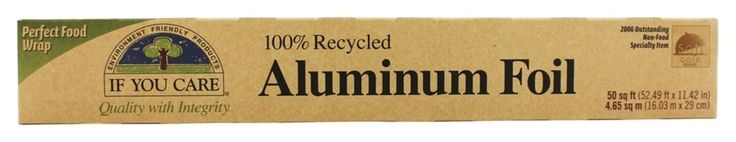 If You Care Aluminum Foil is made with 100% recycled aluminum. While traditional foil manufacturing is a power-intensive process, ours uses 95% less energy to produce. Because there is no need to mine, our production creates less waste, while reusing a precious resource. If You Care 100% Recycled Aluminum Foil can be recycled again, providing your local recycling center accepts aluminum foil.