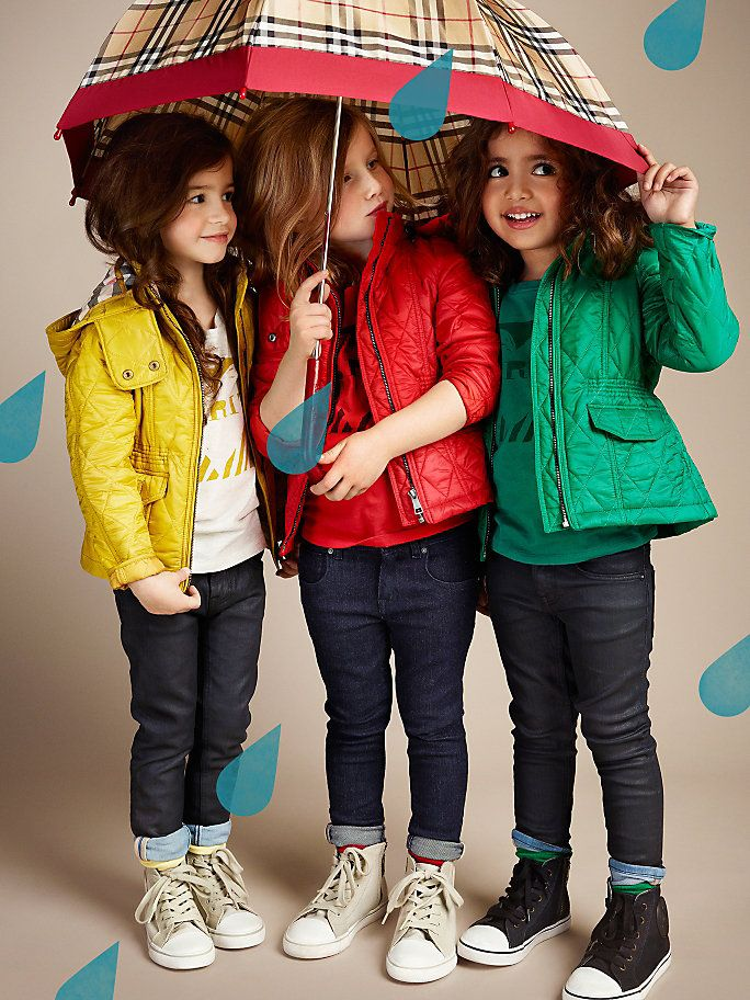 Burberry Kids Spring in bright colors, jeans and high top sneakers