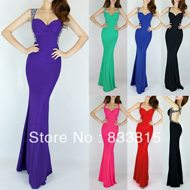 Grace Karin 2014 Women Slim-line Celebrity Wedding Party Long Evening Sexy Gown Backless Bandage Mermaid Prom Dresses CL6080
