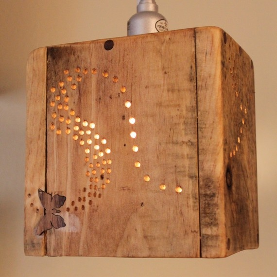 rustic pallet wood pendant lamp by rusticindustrial on