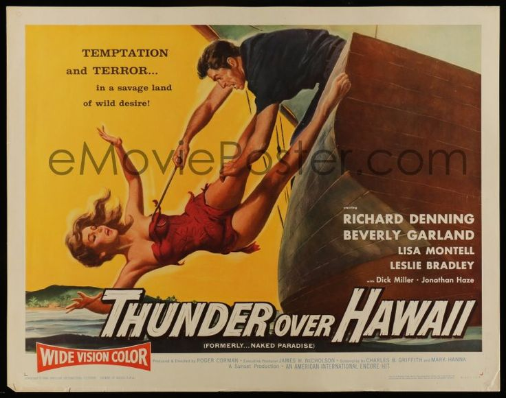 eMoviePoster.com Image For: 2y792 NAKED PARADISE 1/2sh R60 art of sexy Beverly Garland caught by hook, Thunder Over Hawaii!