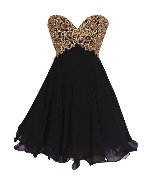 Short Plus Size Prom Dresses Cute Gold And Black