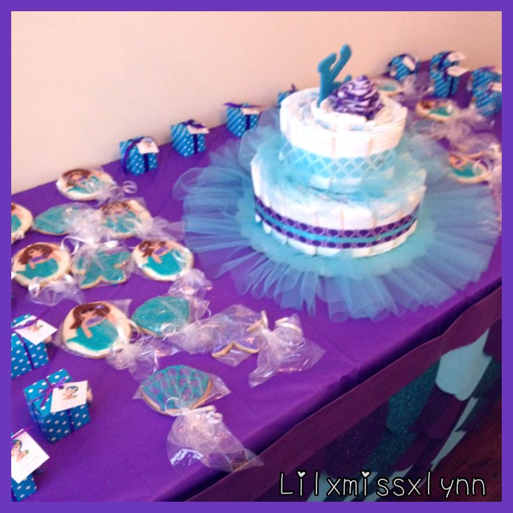 Mermaid Diaper Cake, Cookies & Goodie Box