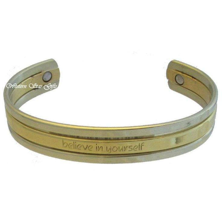 Inspirational Magnetic Bracelet Silver Gold Arthritis Jewelry Believe Yourself ....www.WesternStarGifts.com