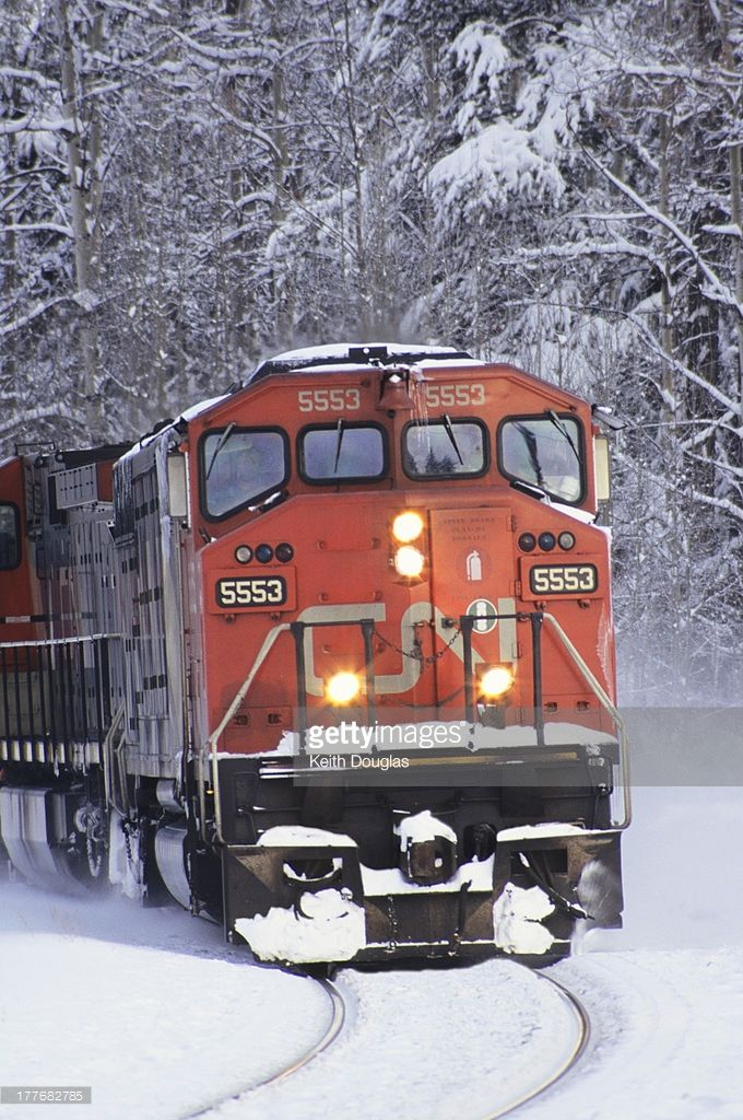Locomotive in winter, Smithers, British Columbia, Canada.