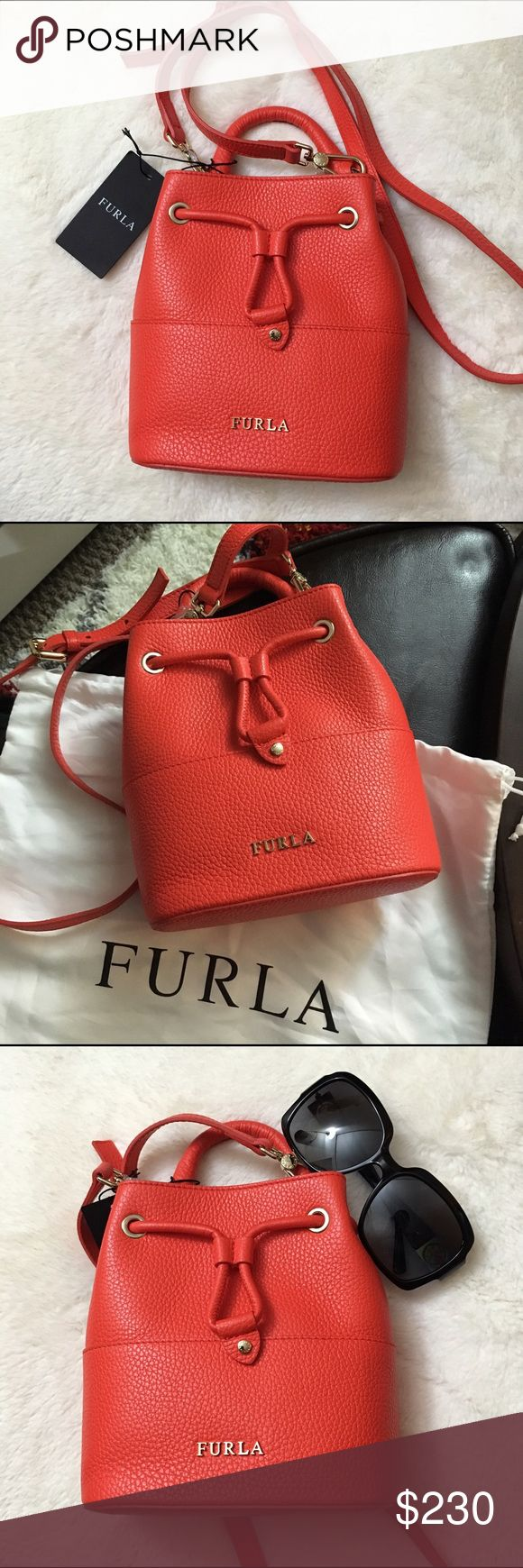 """SALE! ❤️ NWT Furla ❤️ mini leather bucket bag NWT Furla Brooklyn small leather drawstring bucket bag in Arancio ❤️ Pebbled (yet super soft) leather with golden hardware ❤️ 3"""" drop top handle ❤️ removable + adjustable shoulder strap approx 22"""" drop ❤️ 7.5""""H x 6.5""""W x 3""""D ❤️ super adorable  bundle to save more! Furla Bags Crossbody Bags"""
