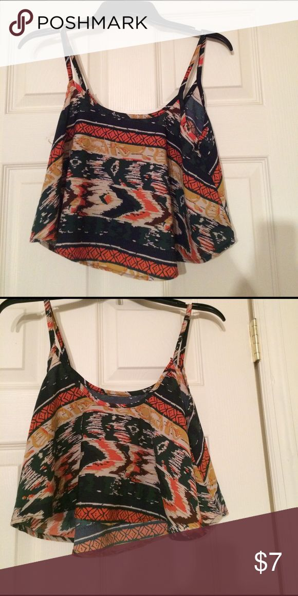Boho crop top tribal print small Summer top boho chic. Flowy crop top in a small. Only worn a few times in good condition silly like fabric. Tops Crop Tops