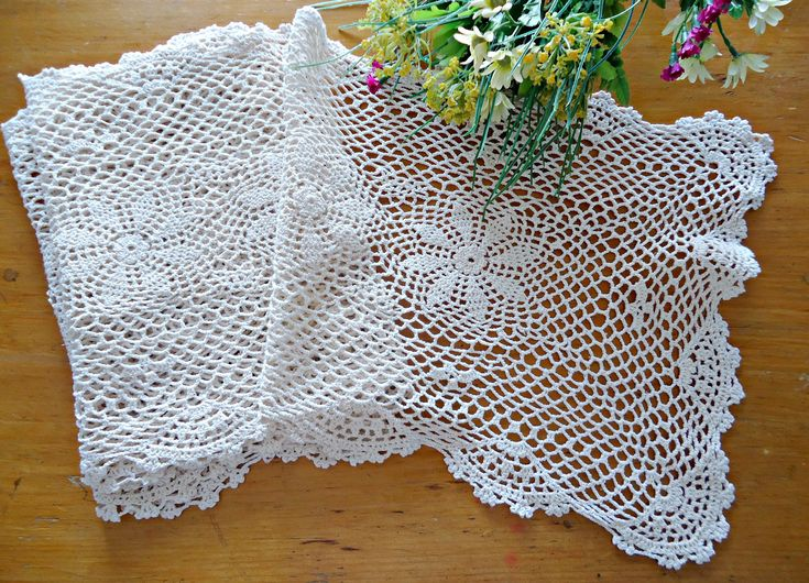 Doily Crocheted Runner Doily Vintage Ecru Doilies Long  G2 by TreasureCoveAlly on Etsy