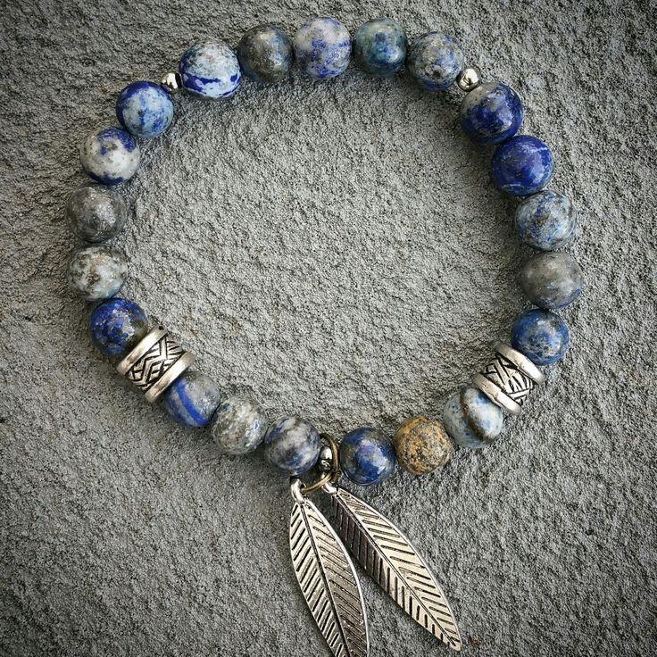 Lapis lazuli natural stone yoga zen healing bracelet available at: bellazenbracelets.etsy.com
