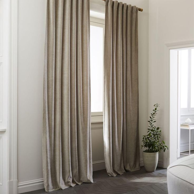 Textured Upholstery Velvet Curtain + Blackout Liner