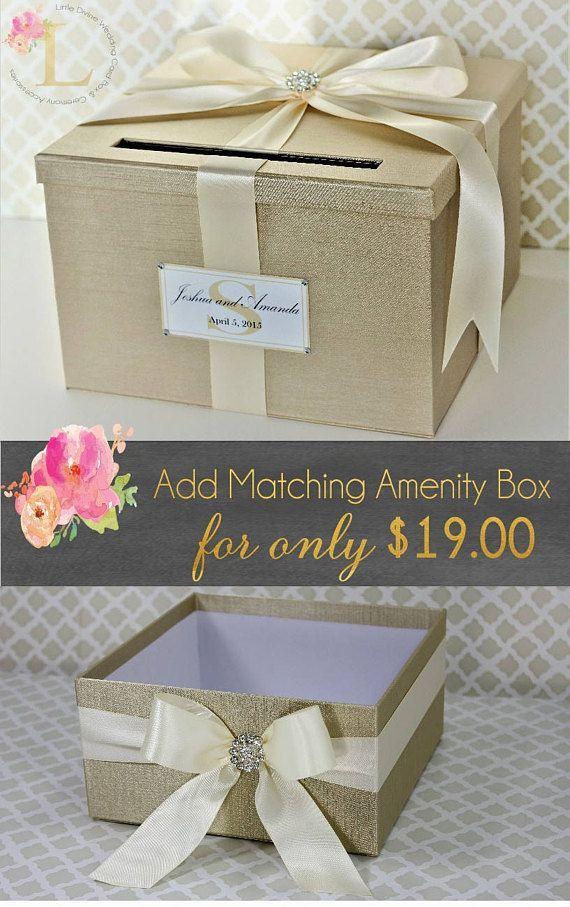Wedding Card Box Champagne Gold And Ivory Card Holder Custom Card Box Wedding Wedding Gift Card Box Gold Card Box