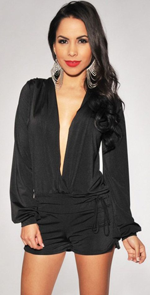 Your glamour will always be full with the black long sleeve romper from CUPSHE.com on! A plunging neckline blend with geo pattern made this romper one of your favorite closet stable.